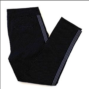 Reitmans Black Dotted Cropped Pants with Side Stripes and Pockets Size 10P